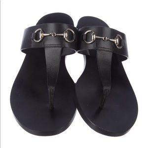 Gucci Horsebit Black Leather Sandals